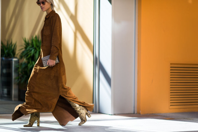 milan fashion week street style-via elle.com-suede dress long tan suede dress-python boots-fall outfits