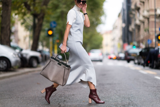 mock neck funnel neck top slip dress over turtleneck-evening to day dressing night to day dressing-mod booties-milan fashion week elle
