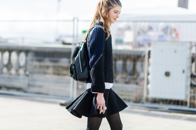 navy and black backpack black mini skirt swing skirt skater skirt -paris fashion week street style fall fashion elle