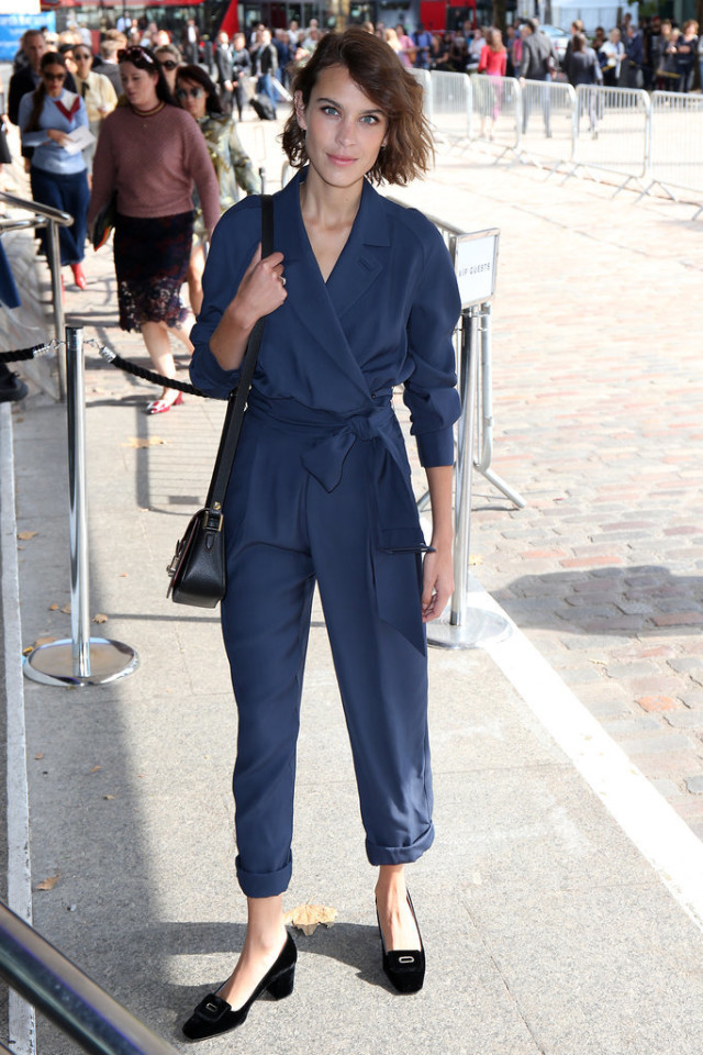 navy jumpsuit-loafers-night out going out-alexa chung-lfw-fall fashion-london fashion week street style-via-popsugar