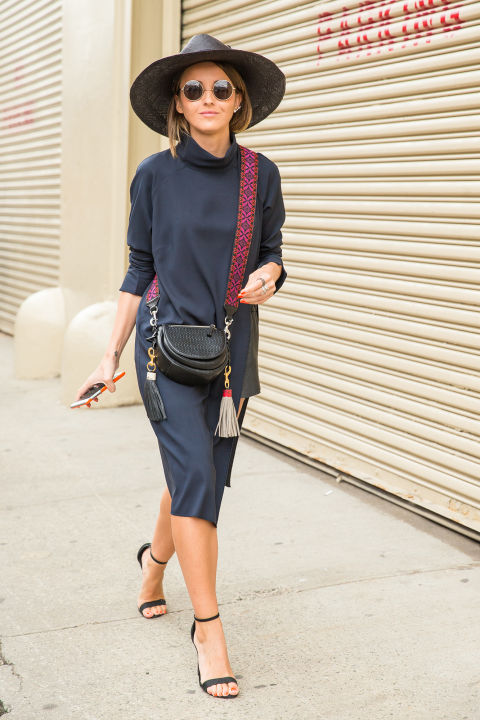 navy-turtleneck dress-fall dress-fall work outfit-simple sandals-hat-fall hat-wide brim hat-fringe-tassles-crossbody bag-hack to make cluch purse-nyfw-cosmo