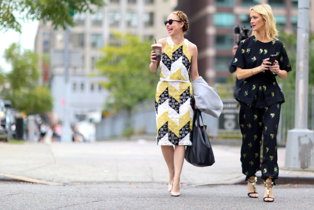 nyfw-black and yellow-peplum-printed top and bottom - matching set - dress-fall work outfits-zanna roberts rassi - popsugar