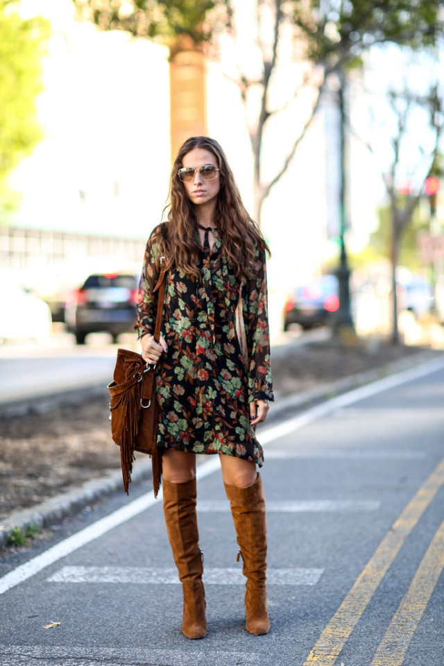 nyfw-boho-70s trend-boho printed dress-fringe bag-knee high tan suede boots-via-popsugar
