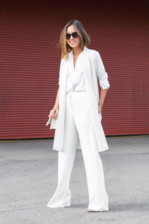nyfw-cosmo-all white white after labor day-wide leg pants-vest-long vest-white shirt-aimee-song-fall work outfit