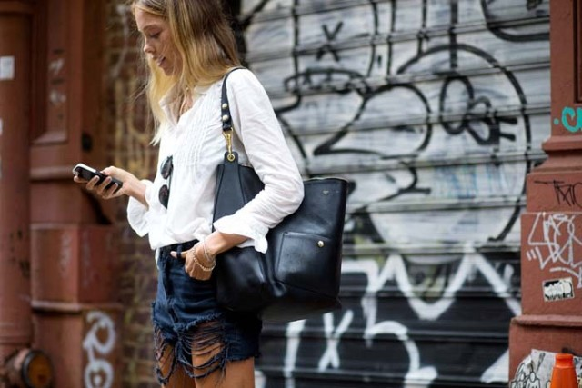 nyfw-denim cutoffs-whtie boho blouse-shirt-boho-nyfw-via-the styleograph