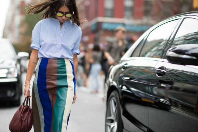nyfw-fall outfits-via-elle.com-fall colors-colorblock - vertical stripes-leather skirt-boho-men's oxford-transitional dressing-summer to fall