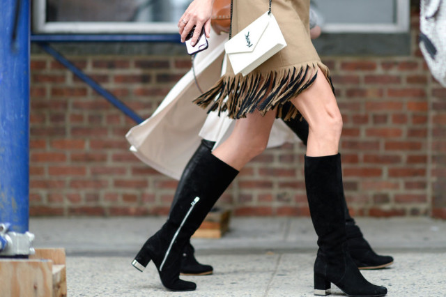 nyfw-fall outfits-via-elle.com-fringe-carwash pleats-car wash pleat - knee boots- mod boots