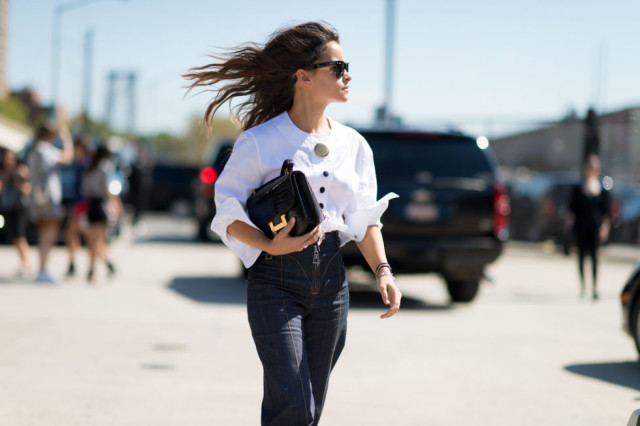 nyfw-fall outfits-via-elle.com-high waisted flare jeans-flares-ruffle sleeve top-70s boho