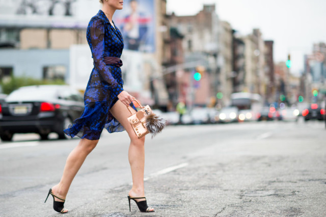 nyfw-fall outfits-via-elle.com-printed-boho-dvf-dress-fall dress work outfit-mules-transitional dressing