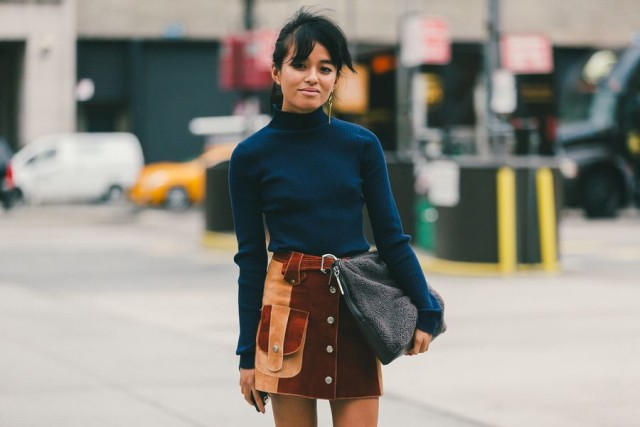 nyfw-fall trends-mockneck-funelneck-button front skirt-sudede skirt-suede-colorblock patchwork suede-mini skirt-textured clutch-turtleneck