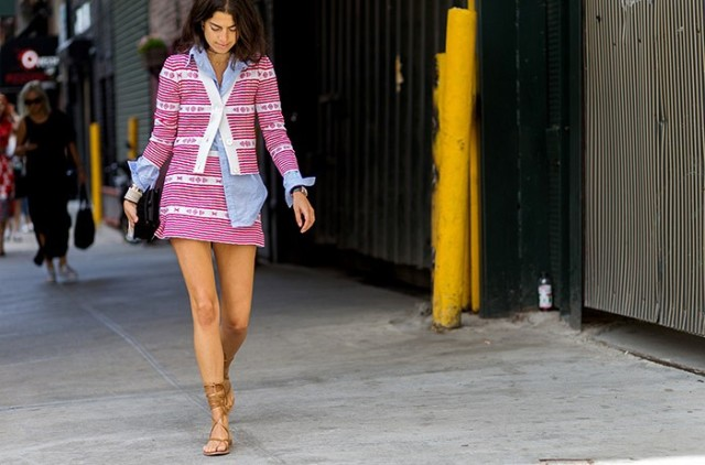 nyfw-leandra-medine-chambray-shirt-gladiator-sandals-printed-skirt-cardigan-suit-fall work outfit-summer work outfit-nyfw-via-the styleograph