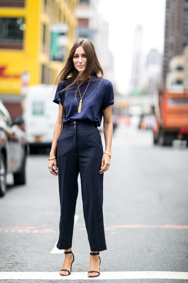 nyfw-navy and black - fringe necklace - pendant-fall work outfti-denim top - black trousers- high waisted pants - simple black sandals - accessories - gold jewelry-via popsugar