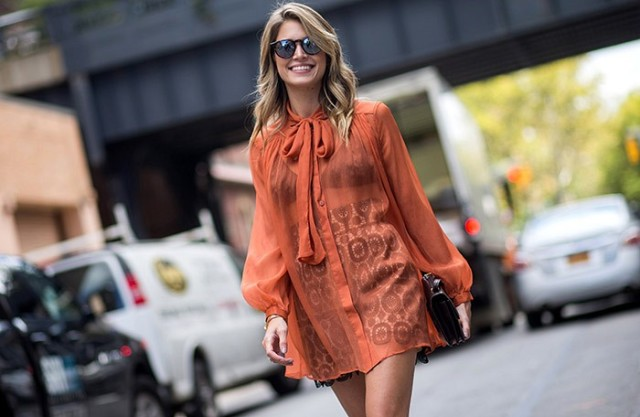 nyfw-orange-boho-lace-mini skirt-bow blouse-boho-70s-mirrored sunglasses-nyfw-nyfw-via-