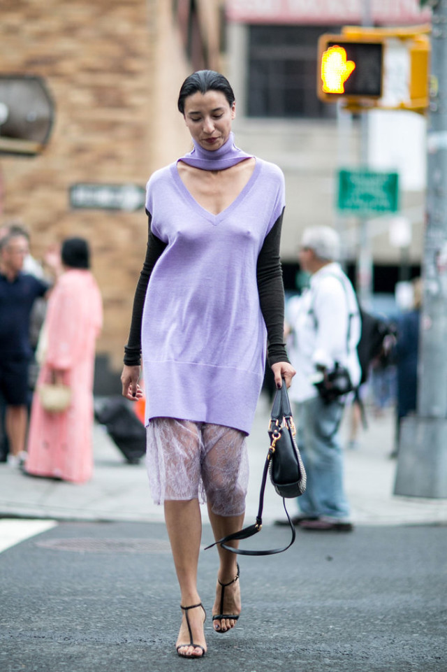 nyfw-oversized sweater-summer dress transitional dressing-night to day dressing -style hck -purple - mixed materials - vest-sweater vest- black simple heels-lily kwong-via-popsugar