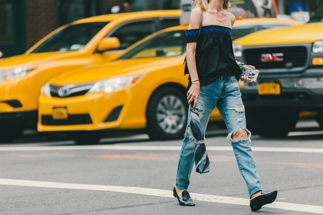 nyfw-transitional-dressing-mom jeans-distressed denim-high waisted jeans-off the hsoulder shirt-bar neckalce-oxfords-loafers-summer to fall -via racked