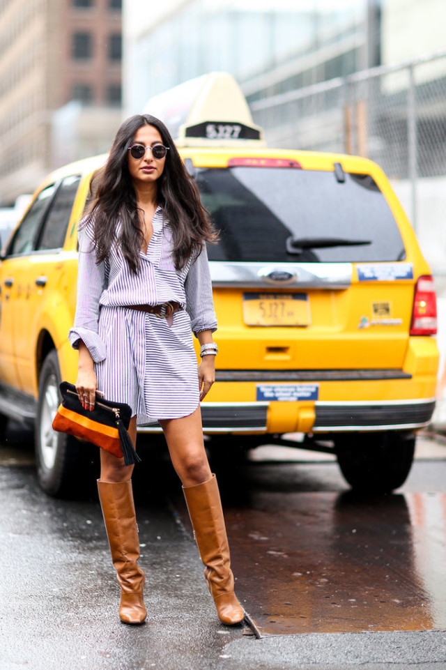 nyfw-transitional dressing - striped shirtdress - shirt dress - tan knee boots - stacked heel boots - sunglasses-round sunglasses - fall fashion work outfits - going out - popsugar