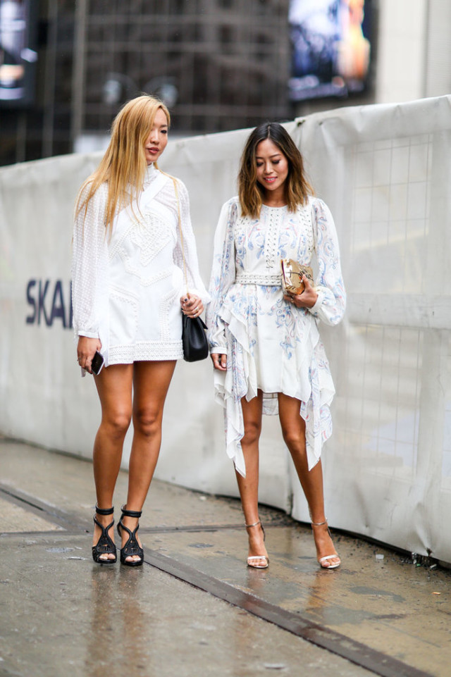 nyfw-white dress-summer dresses-giong out night out - fall fashion summer to fall -white after labor day - aimee song - blogger style - via popsugar