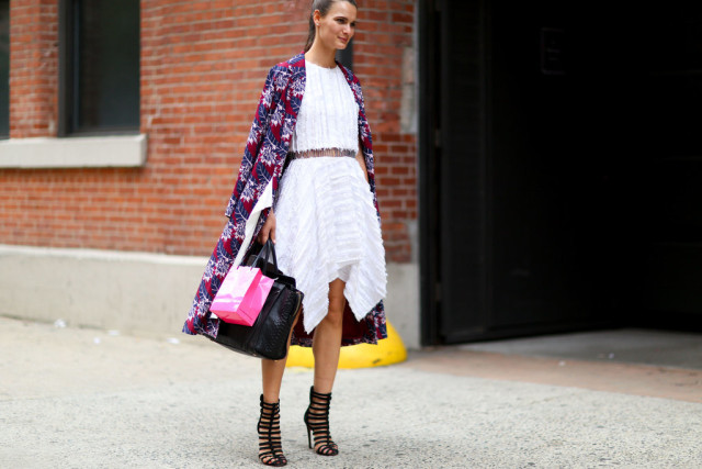 nyfw-white dress-white after labor day-fall coat - statement caot-printed coat-texture-asymmetrical hankerchief hemline-cage booties-fall fashion -via popsugar