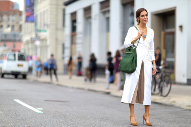 nyfw-white wrap dress-fall outfits-transitional dressing white after labor day - via- popsugar-dress as shirt-wrap dress stle hacks culottes-gala gonazalez
