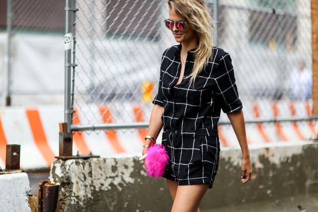nyfw-windowpane-prints-romper-fur bag-neon pink - mirror sunglasses-