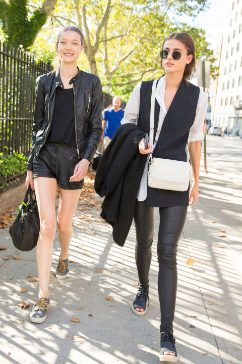 off duty model style-black leather skinnies black leather short-lback leather jacket-white oxford-black long vest-summer to fall dressing-transitional dressing-peep toe espadrilles-sneakers-nyfw-cosmo