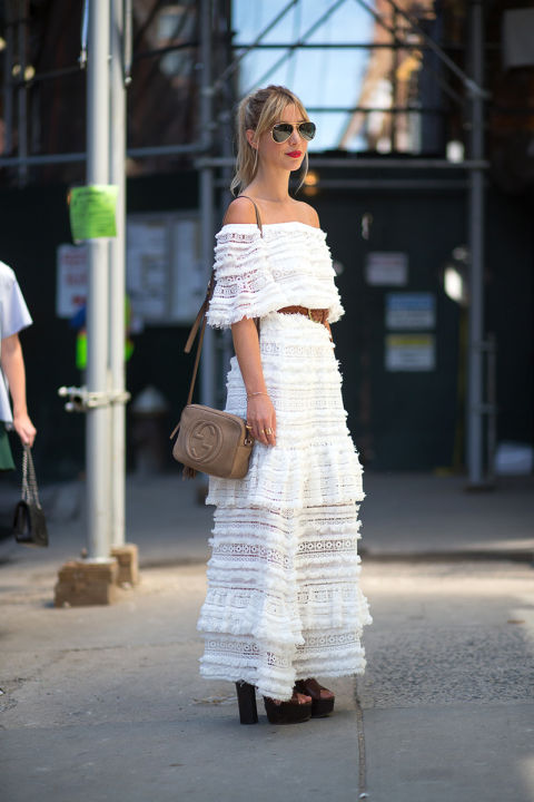 off the shoulder-boho maxi dress-belted-platform sandals-aviators-70s boho dress-whtie after labord day-textured-kerry pieri-v