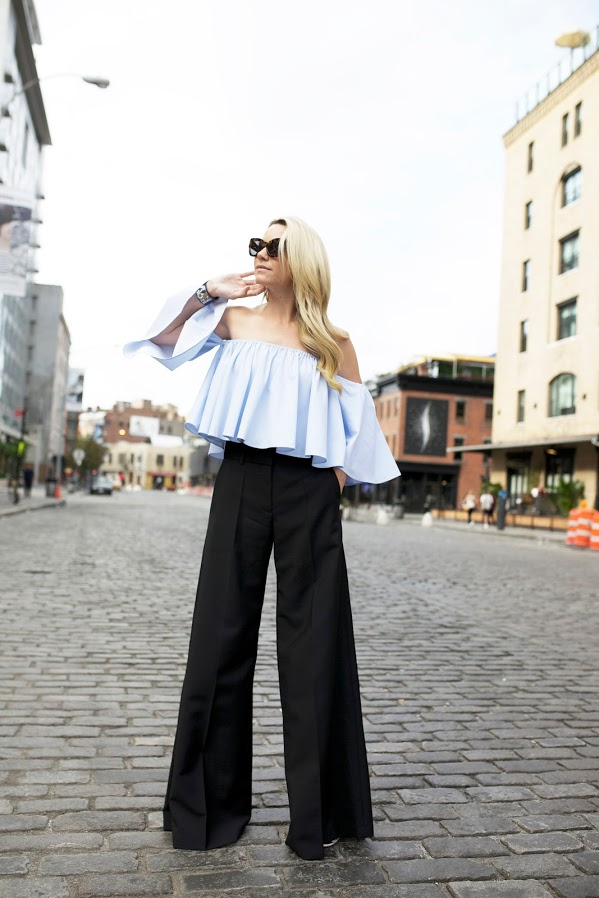off the shoulder shirt-light blue-black wide leg pants-fall work outfit-going out outfit-work funciton-via
