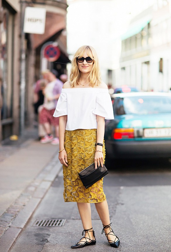 off-the-shoulder top tetxured skirt mustard lace up flats summer to fall via stockholm street style