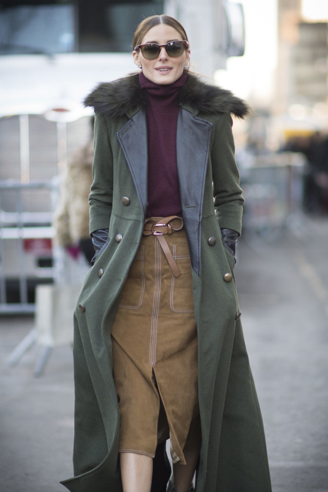 turtlenecks and skirts, olivia-palermo-fall outfit-army green jacket mixed materials-suede skirt-belt-turtleneck-burgundy-via-