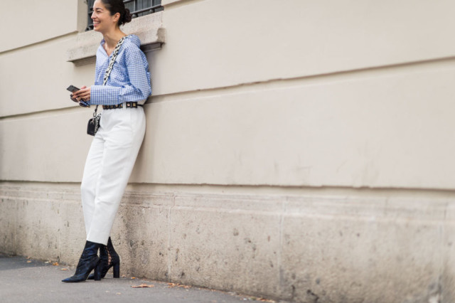 overszied cuffs-gigham-white pants-cropped pants and booties-milan fashion week