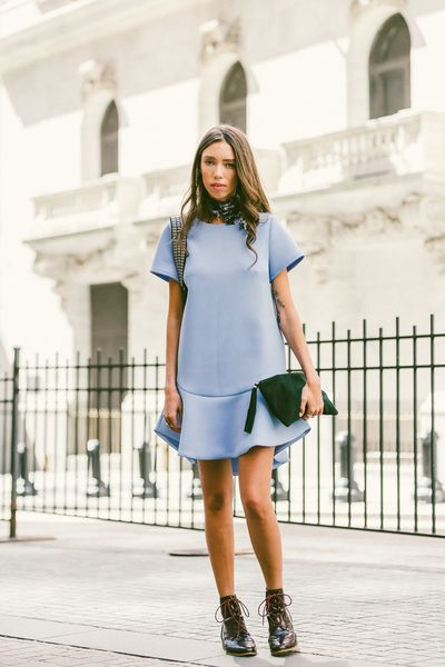 peplum dress-peplum hem dress-ruffle hem dress-lace up booties-scarf-tie neck scarf-sky blue-icy blue-grey blue-nyfw-fall outfits-via-racked
