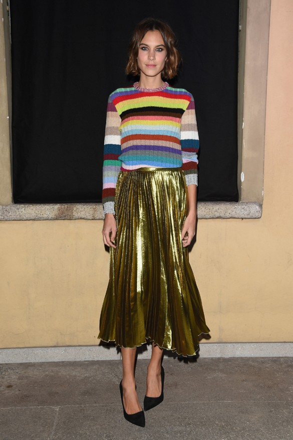 pleated skirt metallic gold midi skirt-black pumps fall stripes rainbow stripes alexa chung fall colorblock-milan fashion week getty