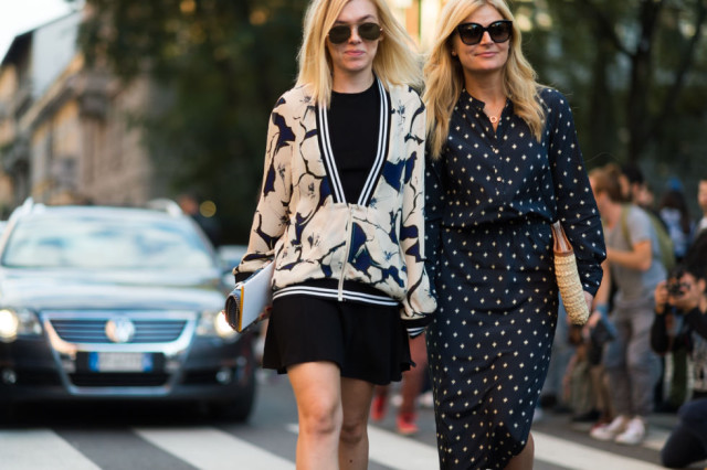 printed maxi dress-printed jacket blazer baseball jacket-lbd-fall dressing-milan fashion week street style-via elle.com