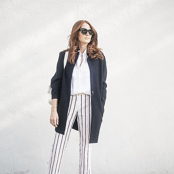 printed pants striped pants white oxford fall spring coat hadn jewelry summer to fall transtional dressing blogger style vertical stripes summer stripes summer work brunch lunch outfit via couldihavethat instagram