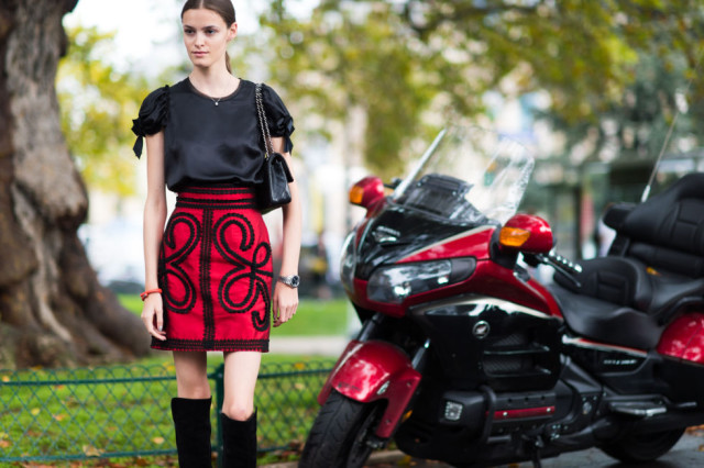 red and black puff sleeve prints spanish knee boots over the knee boots fall work puff sleeve bow sleeve -paris fashion week street style fall fashion elle