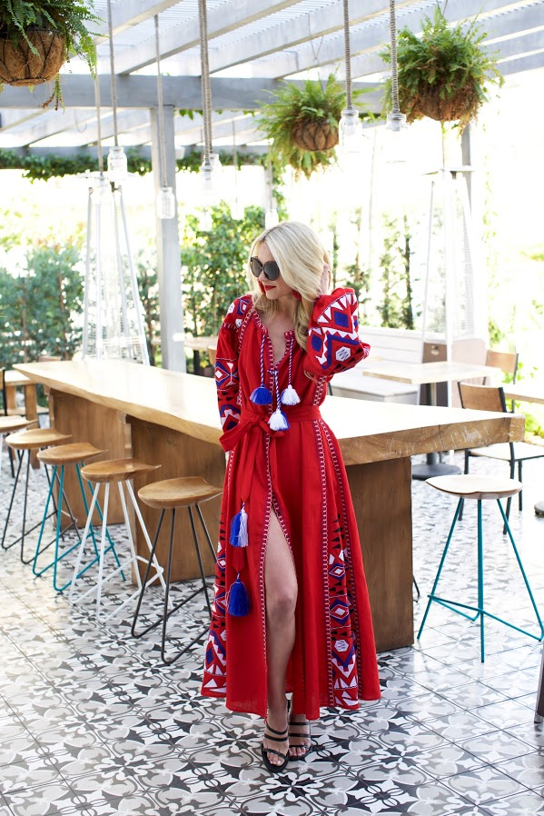 red maxi dress beach cover up-jetsetter style-embroidered summer boho dress-vaca style-beach style-summer party-pool party-