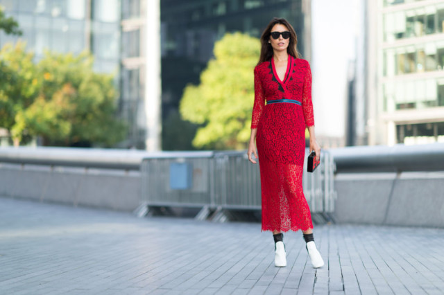 redlace dress-sheer skirt-whtie mod booties boots-lfw street style-elle.com