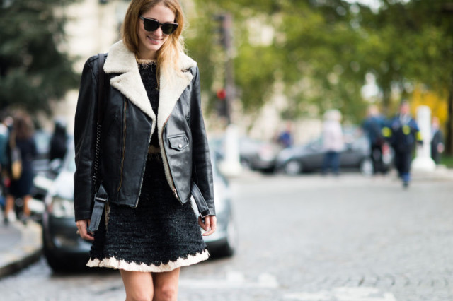 shearling moto jacket black and white black tweed dress fringe frayed texture -paris fashion week street style fall fashion elle fall work outfit
