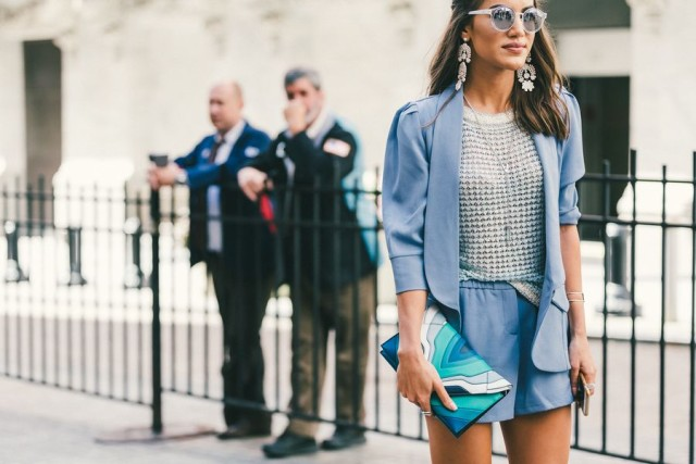 shorts suit-icy blue sky blue grey blue-textured top-etallics-statement earrings-mirror sunglasses-clutch-nyfw-fall outfits-via-racked