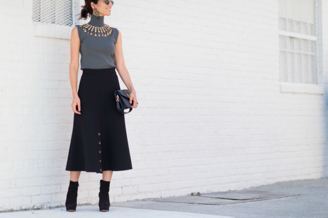 sleeveless turtleneck-midi skirt booties statement necklace-earrings yasmin sewell-fall outfits eele
