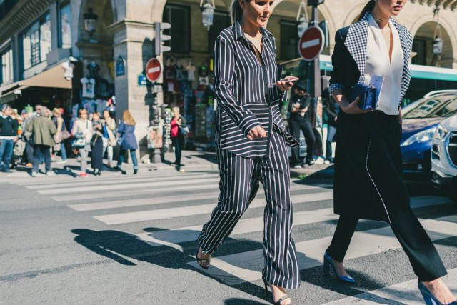 striped pjs pajamas black and whtie checkered navy red and white paris fashion week street style fall fashion racked