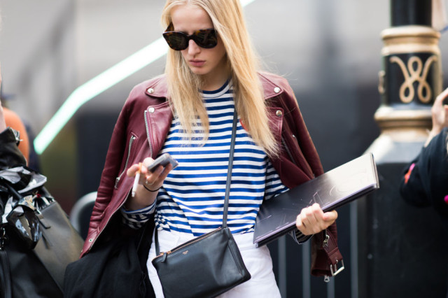 striped tee-stripes-whtie pants-burgundy-red-leather jacket-moto jacket-colored leather-fall colors-lfw street style-elle.com