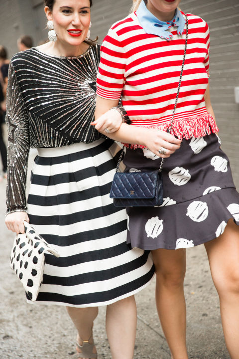stripes-maixed prints-black and white-graphic prints-peplum mini-fringe-fray-day to night-nyfw-street styel-via-cosmo