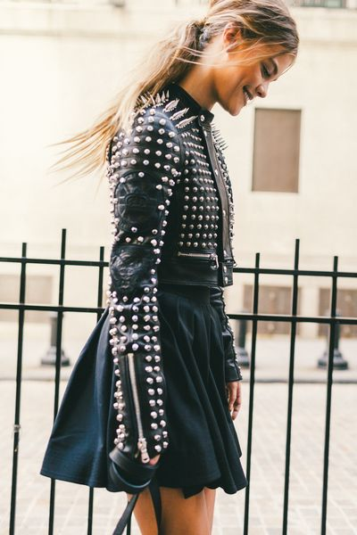 studded leather jacket- black leather moto jacket-black mini skirt-black skater skirt-all black-edgy-nyfw-fall outfits-via-racked