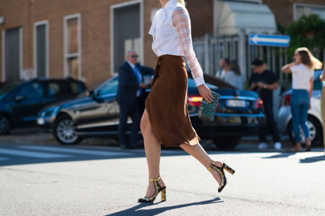 suede midi skirt-bow neck blouse-fall outfits-milan fashion week street style-via elle.com