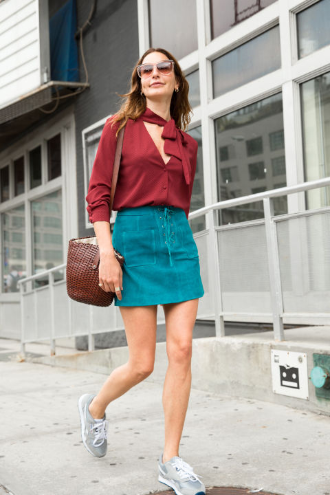 suede mini-tie front-bow blouse-tie front blouse-lace up ties skirt-woven basket skirt-snekaers sneakers and skirt-boho 70s trend-fall colors-nyfw via cosmo