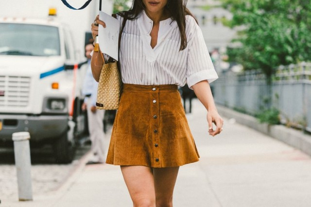 suede skirt-button front skirt-suede mini skirt-boho suede-white oxford shirt-nyfw-fall outfits-via-