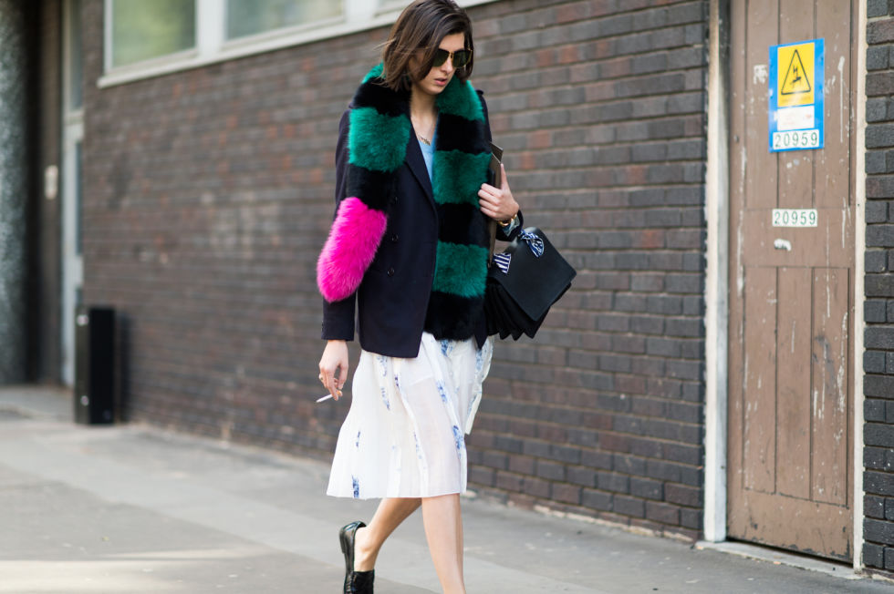 summer to fall dressing-whtie skirt-loafers-blazer-fur-colored-fur-lfw street style-elle.com