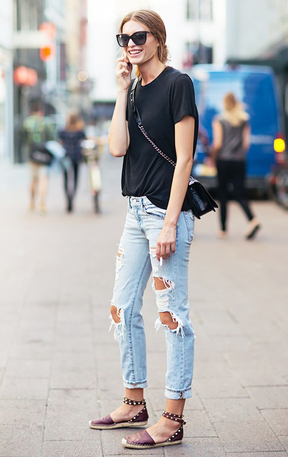 summer to fall weekend distressed denim ripped jeans espadrille flats tee via sss