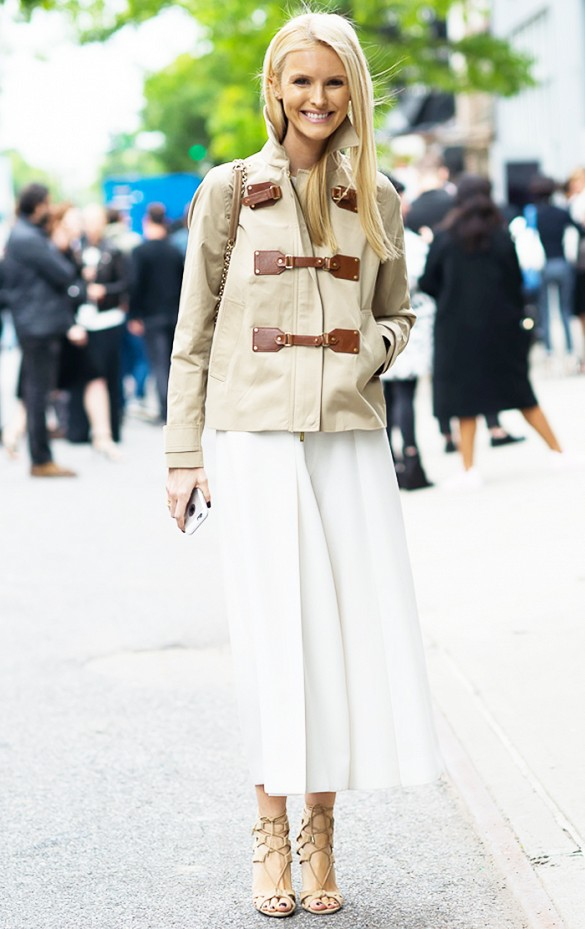 summer to fall white culottes fall jacket white after labor day fall work outfits editor style via gastro chic